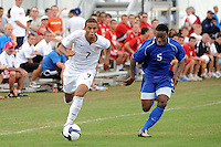 Stefan Jerome (7) of the USA is chased by Momudu Sluwar (5) of the Academy Select Team. The US U-17 defeated the Academy Select team 3-1 during day one of the US Soccer Development Academy  Spring Showcase in Sarasota, FL, on May 22, 2009.