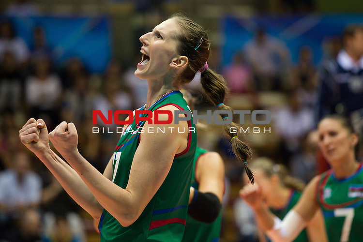 05.10.2014, Pala Trieste, Triest<br /> Volleyball, FIVB Volleyball Women`s World Championship 2014, 2. Runde, Deutschland (GER) vs. Aserbaidschan (AZE)<br /> <br /> Jubel Polina Rahimova (#17 AZE)<br /> <br />   Foto &copy; nordphoto / Kurth