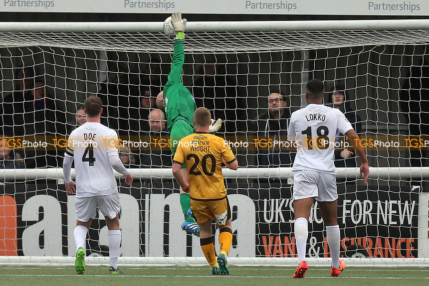 Mark Cousins of Dagenham pushes the ball against the crossbar during Sutton United  vs Dagenham & Redbridge, Vanarama National League Football at the Borough Sports Ground on 20th January 2018