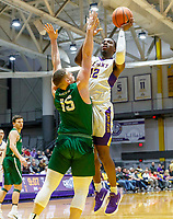 University at Albany men's basketball defeats Binghamton University 71-54  at the  SEFCU Arena, Feb. 27, 2018.  Devonte Campbell (#12) shoots over Bobby Ahearn. (Bruce Dudek / Cal Sport Media/Eclipse Sportswire)