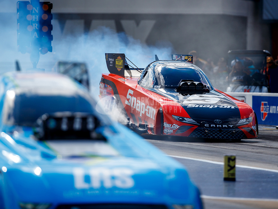 Sep 15, 2017; Concord, NC, USA; NHRA funny car driver Cruz Pedregon during qualifying for the Carolina Nationals at zMax Dragway. Mandatory Credit: Mark J. Rebilas-USA TODAY Sports