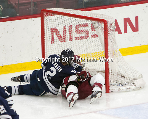 Adam Larkin (Yale - 2), Alexander Kerfoot (Harvard - 14) - The Harvard University Crimson defeated the Yale University Bulldogs 6-4 in the opening game of their ECAC quarterfinal series on Friday, March 10, 2017, at Bright-Landry Hockey Center in Boston, Massachusetts.