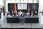 Garden City, New York, USA. 26th May 2015. JAY JACOBS, Chairman of the Nassau County Democrats, speaks at the podium during the party nominating convention, held at the Cradle of Aviation museum, Long Island. The executive committee nominated 55 candidates for political and judicial races.