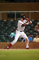 Scottsdale Scorpions Nick Maton (16), of the Philadelphia Phillies organization, at bat during an Arizona Fall League game against the Glendale Desert Dogs on September 20, 2019 at Salt River Fields at Talking Stick in Scottsdale, Arizona. Scottsdale defeated Glendale 3-2. (Zachary Lucy/Four Seam Images)