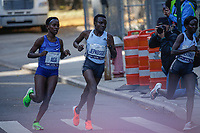 NEW YORK NY - NOVEMBER 03: Joyciline Jepkosgei of Kenya (C) the runner won the competes during the New York City Marathon on New York City on November 03, 2019.  (Photo by Kena Betancur/VIEWpress)