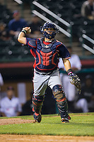 Rome Braves catcher Jonathan Morales (8) makes a throw to first base against the Hickory Crawdads at L.P. Frans Stadium on May 12, 2016 in Hickory, North Carolina.  The Braves defeated the Crawdads 3-0.  (Brian Westerholt/Four Seam Images)