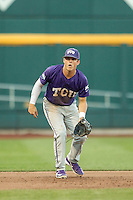 TCU Horned Frogs third baseman Derek Odell (5) on defense against the Vanderbilt Commodores in Game 12 of the NCAA College World Series on June 19, 2015 at TD Ameritrade Park in Omaha, Nebraska. The Commodores defeated TCU 7-1. (Andrew Woolley/Four Seam Images)