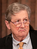"""United States Senator John Kennedy (Republican of Louisiana) listens to the witnesses during the US Senate Committee on Banking, Housing and Urban Affairs hearing titled """"Implementation of the Economic Growth, Regulatory Relief, and Consumer Protection Act"""" on Capitol Hill in Washington, DC on Tuesday, October 2, 2018.<br /> Credit: Ron Sachs / CNP"""