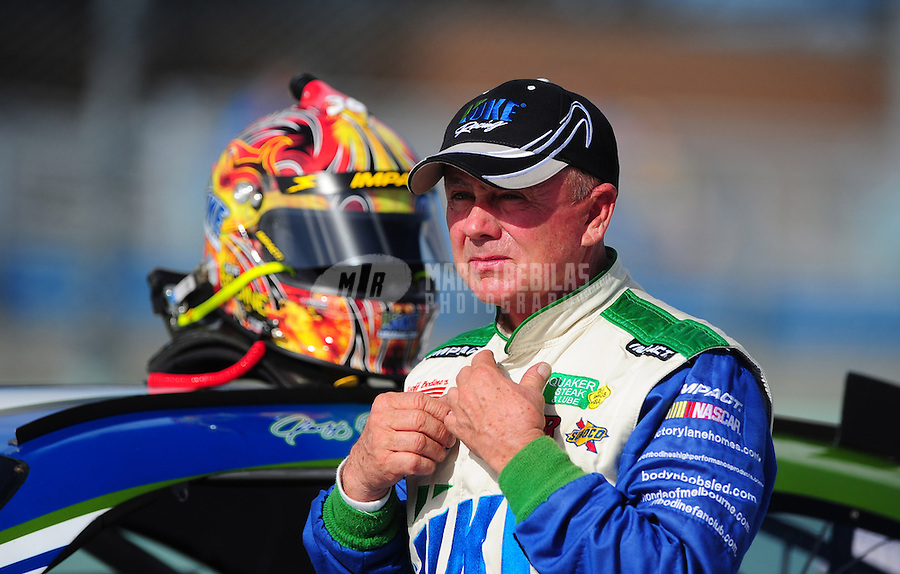 Nov. 19, 2011; Homestead, FL, USA; NASCAR Sprint Cup Series driver Geoffrey Bodine during qualifying for the Ford 400 at Homestead Miami Speedway. Mandatory Credit: Mark J. Rebilas-