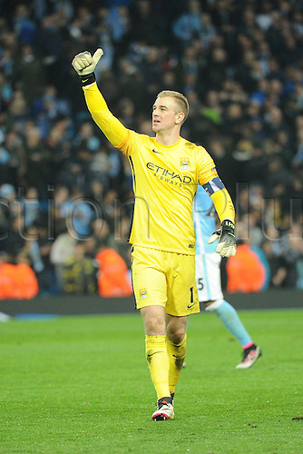 12.04.2016. manchester, England. UEFA Champions league, quarterfinals, second leg. Manchester City versus Paris St Germain.  JOE HART (man)  celebrates the win