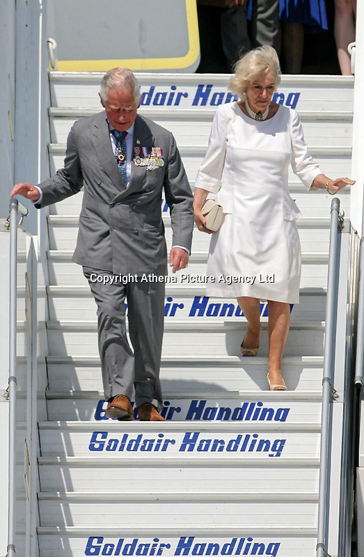 Pictured: Prince Charles and the Duchess of Cornwall arrive at the Eleftherios Venizelos Airport in Athens, Greece. Wednesday 09 May 2018 <br /> Re: Official visit of HRH Prnce Charles and his wife the Duchess of Cornwall to Athens, Greece.