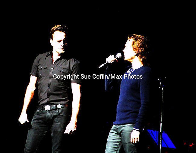 "General Hospital's Jonathan Jackson ""Avery Barkley"" stars in Nashville with costar Charles Esten ""Deacon"" and perform live in concert at WolfTrap, Vienna, Virginia. (Photo by Sue Coflin/Max Photos)"