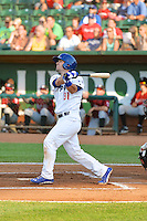 Hunter Redman (31) of the Ogden Raptors at bat against the Idaho Falls Chukars in Pioneer League action at Lindquist Field on July 26, 2014 in Ogden, Utah.  (Stephen Smith/Four Seam Images)