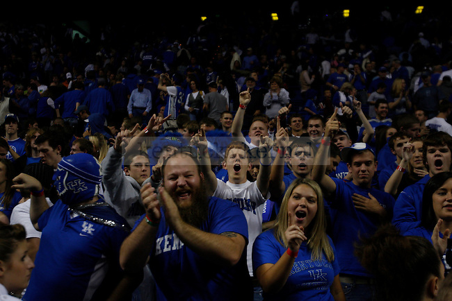 Fans in the eRUPPtion zone celebrate the Cats victory over Clarion at Rupp Arena on Friday, Nov. 6, 2009. the Cats defeated Clarion 117-52. The Wildcats won 117-52 over the Golden Eagles. Photo by Scott Hannigan | Staff