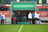 Bundestrainer Joachim Loew (Deutschland Germany) traeumt vom Sieg in Belfast - 04.10.2017: Deutschland Abschlusstraining, Windsor Park Belfast