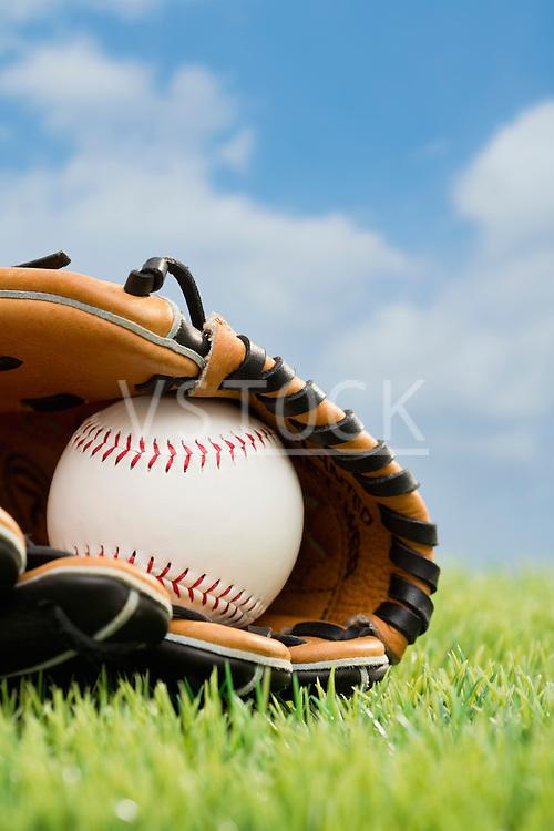Ball inside catchers mitt on grass