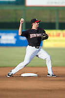 Kannapolis Intimidators second baseman Ryan Leonards (13) turns a double play during the game against the Lakewood BlueClaws at Intimidators Stadium on July 16, 2015 in Kannapolis, North Carolina.  The BlueClaws defeated the Intimidators 3-1.  (Brian Westerholt/Four Seam Images)