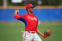 Philadelphia Phillies Luis Espiritu (13) during a minor league Spring Training game against the Toronto Blue Jays on March 26, 2016 at Englebert Complex in Dunedin, Florida.  (Mike Janes/Four Seam Images)