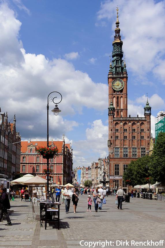 Rechtst&auml;dtisches Rathaus (Ratusz Glownego) am Langen Markt (Dlugi Targ) in Danzig (Gdansk), Woiwodschaft Pommern (Wojew&oacute;dztwo pomorskie), Polen, Europa<br /> townhall Ratusz Glownego on the Long Market (Dlugi Targ)  in Gdansk, Poland, Europe