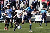 Lee Noble of Dartford and Woking's Christian Jolley challenge for the ball during Dartford vs Woking, Vanarama National League South Football at Princes Park on 23rd February 2019
