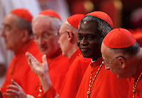 Il cardinale ghanese Peter Kodwo Appiah Turkson attende l'inizio della Messa per la solennita' dei Santi Pietro e Paolo, nella Basilica di San Pietro, Citta' del Vaticano, 29 giugno 2013.<br /> Cardinal Peter Kodwo Appiah Turkson, of Ghana, waits for the start of the Mass for the Saints Peter and Pauls' day in St. Peter's Basilica at the Vatican, 29 June 2013.<br /> UPDATE IMAGES PRESS/Riccardo De Luca<br /> <br /> STRICTLY ONLY FOR EDITORIAL USE
