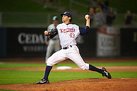 Cedar Rapids Kernels pitcher Michael Theofanopoulos (43) delivers a pitch during a game against the Kane County Cougars on August 18, 2015 at Perfect Game Field in Cedar Rapids, Iowa.  Kane County defeated Cedar Rapids 1-0.  (Mike Janes/Four Seam Images)