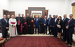 Palestinian President Mahmoud Abbas, meets with Cardinal Sandri Dean of the Eastern Churches in the Vatican, in the West Bank city of Ramallah, on October 03, 2019. Photo by Thaer Ganaim