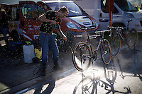 cleaning the bikes post-race<br /> <br /> U23 race<br /> Koppenbergcross 2015