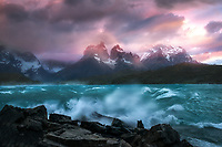 Waves crashing at Lake Pehoe. Torres Del Paine National Park, Chile