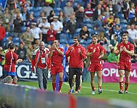 The Wales players do a lap of honour at the end of the game<br /> <br /> Wales Vs England - men's classification 5th - 6th place match<br /> <br /> Photographer Chris Vaughan/CameraSport<br /> <br /> 20th Commonwealth Games - Day 4 - Sunday 27th July 2014 - Rugby Sevens - Ibrox Stadium - Glasgow - UK<br /> <br /> © CameraSport - 43 Linden Ave. Countesthorpe. Leicester. England. LE8 5PG - Tel: +44 (0) 116 277 4147 - admin@camerasport.com - www.camerasport.com