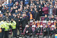 Fans shout at bench during West Ham United vs Burnley, Premier League Football at The London Stadium on 10th March 2018