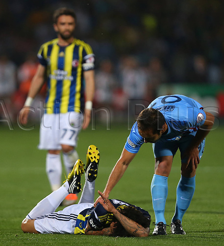 22.05.2013. Ankara, Turkey.  Turkish Cup Final Match between Fenerbahce   and Trabzonspor   in Ankara Turkey  The match finished Fenerbahce 1 Trabzonspor 0  Olcan Adin of Trabzonspor and Christian Baroni of Fenerbahce