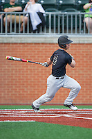 Stuart Fairchild (4) of the Wake Forest Demon Deacons follows through on his swing against the Charlotte 49ers at Hayes Stadium on March 16, 2016 in Charlotte, North Carolina.  The 49ers defeated the Demon Deacons 7-6.  (Brian Westerholt/Four Seam Images)