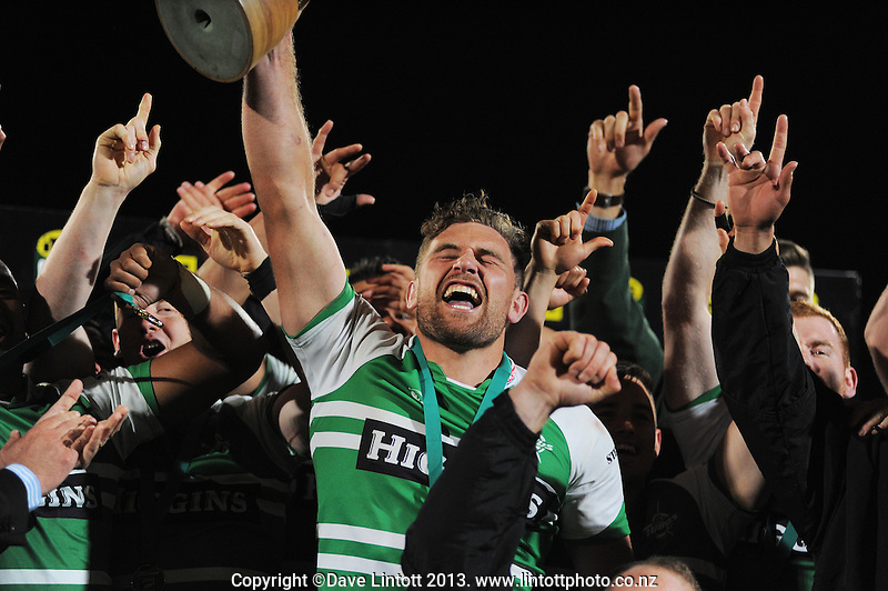 Turbos captain Callum Gibbins celebrates winning the ITM Cup rugby chamiponship final match between Manawatu Turbos and Hawkes Bay Magpies at FMG Stadium, Palmerston North, New Zealand on Friday, 24 October 2014. Photo: Dave Lintott / lintottphoto.co.nz