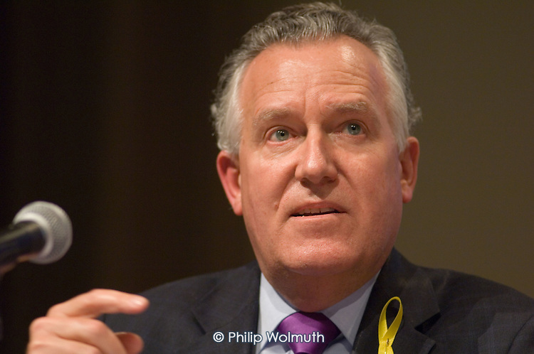 Peter Hain MP, Secretary of State for Northern Ireland,  speaks at a Fabian Society hustings meeting for candidates for the deputy leadership of the Labour Party at the Institute of Education, London.