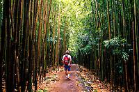Hiking through bamboo forest in Haleakala National Park, Kipahulu, Maui.