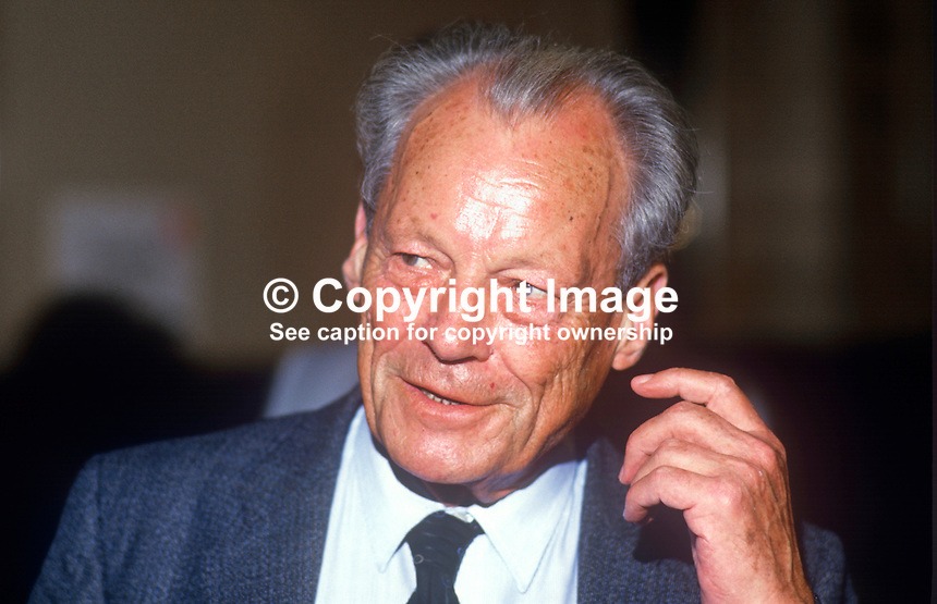 Willy Brandt, former, Chancellor, West Germany, at annual conference, UK Labour Party, 1986. 19860925WB1<br /> <br /> Copyright Image from Victor Patterson, 54 Dorchester Park, Belfast, UK, BT9 6RJ<br /> <br /> t1: +44 28 9066 1296 (from Rep of Ireland 048 9066 1296)<br /> t2: +44 28 9002 2446 (from Rep of Ireland 048 9002 2446)<br /> m: +44 7802 353836<br /> <br /> e1: victorpatterson@me.com<br /> e2: victorpatterson@gmail.com<br /> <br /> The use of any of my copyright images is subject to my Terms &amp; Conditions.<br /> <br /> It is IMPORTANT that you familiarise yourself with them. They are available on my website, victorpatterson.com.<br /> <br /> None of my copyright images may be used on the Internet unless they are visibly watermarked, i.e. &copy; Victor Patterson within the body of the image. Metadata denoting my copyright must NOT be deleted. <br /> <br /> Web use is extra at currently recommended NUJ rates.