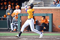 Western Illinois Drue Galassi (35) swings at a pitch during a game against the University of Tennessee at Lindsey Nelson Stadium on February 15, 2020 in Knoxville, Tennessee. The Volunteers defeated Leathernecks 19-0. (Tony Farlow/Four Seam Images)