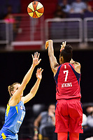 Washington, DC - July 13, 2018: Washington Mystics guard Ariel Atkins (7) shoots a three pointer over Chicago Sky forward Gabby Williams (15) during game between the Washington Mystics and Chicago Sky at the Capital One Arena in Washington, DC. The Mystics defeat the Sky 88-72 (Photo by Phil Peters/Media Images International)