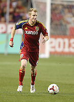 Nat Borchers #6 of Real Salt Lake moves the ball down field during a game against of D.C. United during the first half of the U.S. Open Cup Final on October  1, 2013 at Rio Tinto Stadium in Sandy, Utah.