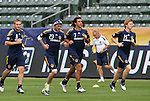 19 November 2011: Chris Birchall (TRI) (8), David Beckham (ENG) (23), Jovan Kirovski (7), and Dan Keat (ENG) (15) jog around the field. The Los Angeles Galaxy held a practice session at the Home Depot Center in Carson, CA one day before playing in MLS Cup 2011.