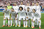 Real Madrid's team photo with Iker Casillas, Sergio Ramos, Raphael Varane, Toni Kroos, Karim Benzema, Cristiano Ronaldo, James Rodriguez, Garet Bale, Marcelo Vieira, Daniel Carvajal and Luka Modric during Champions League 2014/2015 Quarter-finals 1st leg match.April 14,2015. (ALTERPHOTOS/Acero)