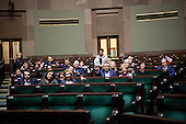 WARSAW, POLAND, DECEMBER 20, 2016:<br /> Oposition members occupying the main plenary hall of Sejm, Polish parliament, during the standoff with the government over the freedom of press and illegal budget ruling.<br />  The opposition objects to government plans to limit the number of journalists allowed to cover parliamentary proceedings. The MPs' protest delayed a budget vote, which was later held away from the main parliament chamber. (Photo by Joanna Scheuring-Wielgus for Piotr Malecki / Napo Images) **** WARSZAWA, 20.12.2016. Czlonkowie opozycji okupuja sejm podczas kryzysu parlamentarnego z powodu ograniczenia dostepu mediow do sejmu oraz nielegalnego uchwalenia budzetu. Fot. Joanna Scheuring-Wielgus dla Piotra Maleckiego / Napo Images ###ZDJECIE MOZE BYC UZYTE W KONTEKSCIE NIEOBRAZAJACYM OSOB PRZEDSTAWIONYCH NA FOTOGRAFII### ### Cena zdjecia w/g cennika FORUM plus 50% (cena minimalna 100 PLN)