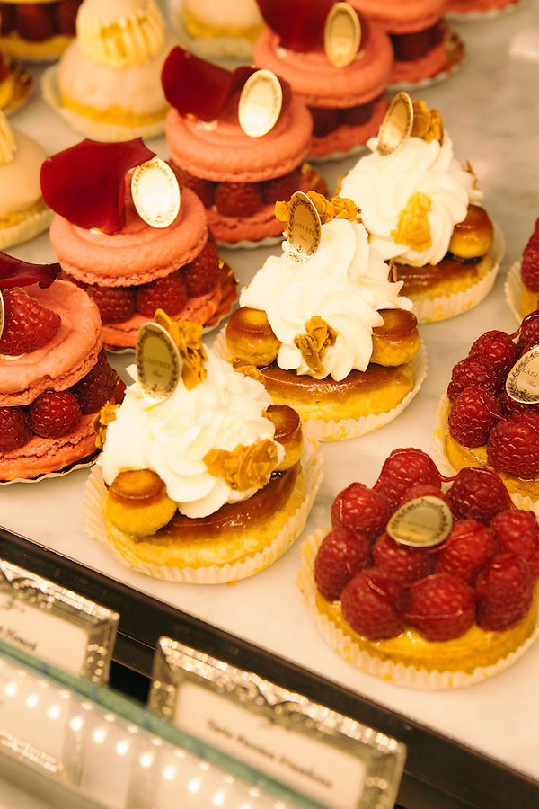 Pastries at Laduree, a famous patisserie, Rue de Royale, Paris, France, Europe