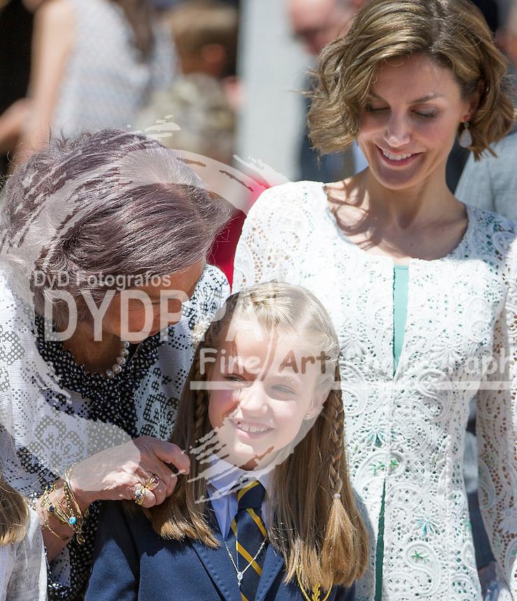 Queen Letizia; King Felipe VI; Former Queen Sofia; former King Juan Carlos I; Princes of Asturias Leonor; Princes Sofia after First communion pose for media out of Church