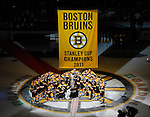 (Boston, MA) The Boston Bruins pose for a team photo as they celebrate their Stanley Cup championship during banner night ceremonies at the TD Garden on Thursday, October 06, 2011.  Staff photo by Christopher Evans