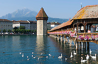 Switzerland, Canton Lucerne: Chapel Bridge, Water Tower and Pilatus mountain