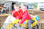 TEST DRIVE: Ray Carroll and Christopher Hayes from.Athea get the feel of one of the many motorbikes in Athea.on Saturday.