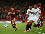 Alex Oxlade-Chamberlain of Liverpool gets clear of Steven N'Zonzi of Sevilla during the Champions League Group E match at the Anfield Stadium, Liverpool. Picture date 13th September 2017. Picture credit should read: Simon Bellis/Sportimage