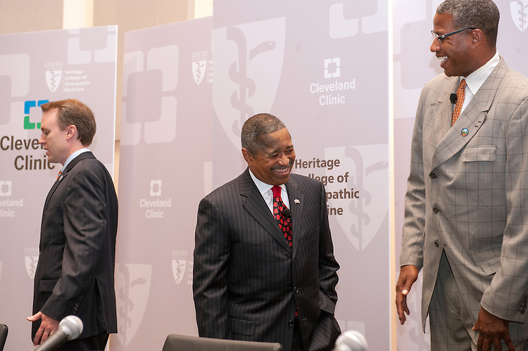 Ohio University President Dr. Roderick McDavis (Center) and Warrensville Heights Mayor Bradley Sellers talk following a press conference at Southpointe Hospital.